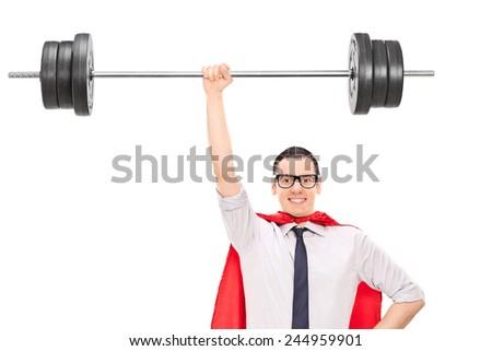 Superhero holding a heavy weight isolated on white background - stock photo