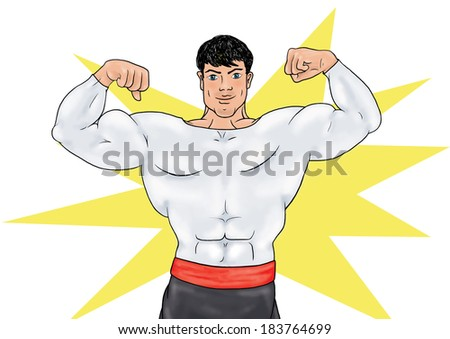 Superhero in his uniform stands and shows muscles on background with yellow star. Superhero in action. Cartoon character. Healthy man, sportsman, athlete, bodybuilder. - stock photo