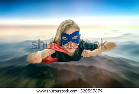 Superhero kid flying across the planet.