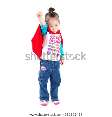 Superhero little asian girl in a red raincoat on white background - stock photo