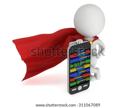 Superhero near smartphone with abacus scores screen. 3d render isolated on white. - stock photo