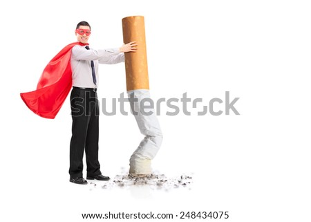 Superhero putting out a giant cigarette isolated on white background - stock photo