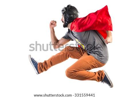 Superhero running fast - stock photo