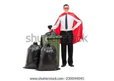 Superhero standing by a trash can isolated on white background - stock photo