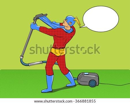 Superhero with vacuum cleaner pop art style raster illustration. Comic book style - stock photo