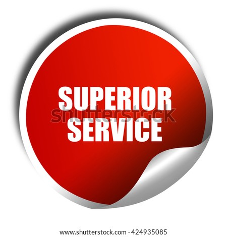 superior service, 3D rendering, red sticker with white text - stock photo