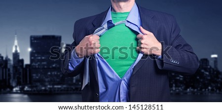Superman in the night city. - stock photo