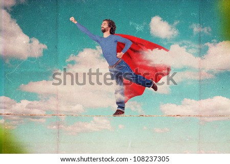 superman on sky, art collage