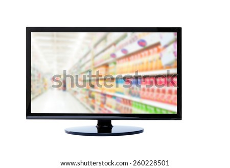 Supermarket blur background ON TV , guide for shopping - stock photo