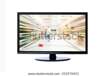 Supermarket blur background ON TV , quide for shopping - stock photo