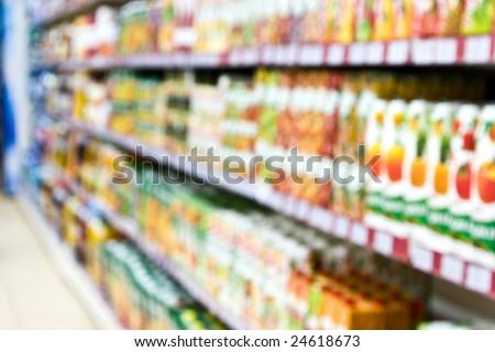 Supermarket blur. Not in focus. - stock photo