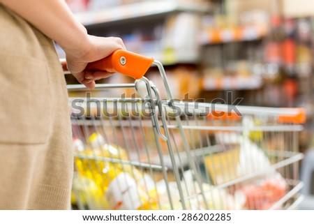 supermarket cart - stock photo