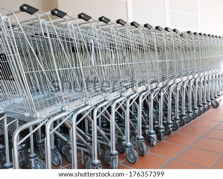 Supermarket carts parked outside the building