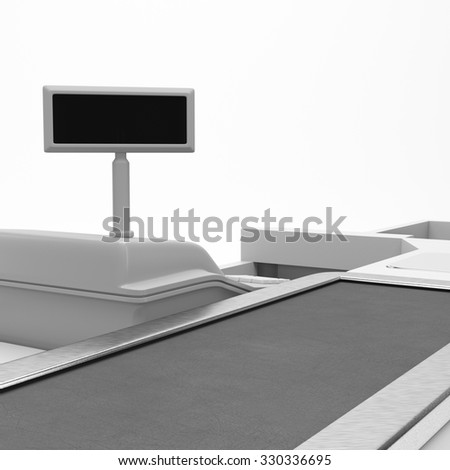 Supermarket counter. 3D rendering - stock photo