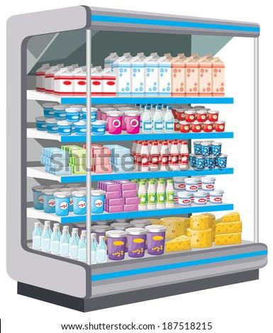 Supermarket. Dairy products. Raster illustration.  - stock photo