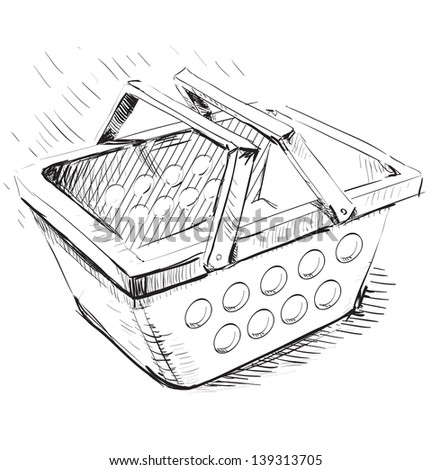 Supermarket food basket cartoon illustration