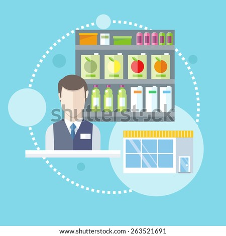 Supermarket general store. Shelfs with food and potables near seller in flat design style. Raster version - stock photo