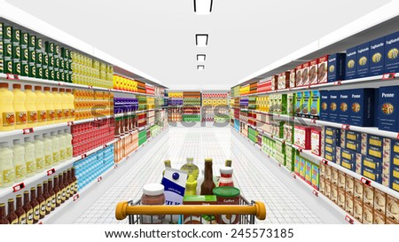 Supermarket interior and shopping cart with various products  - stock photo