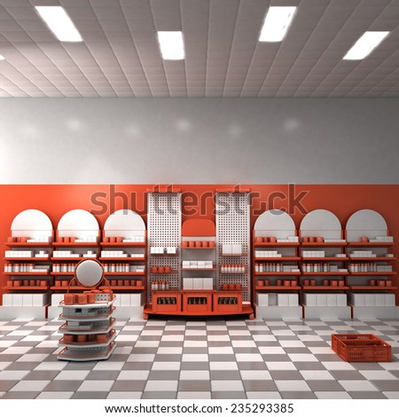 Supermarket Interior With Red Walls (3d rendering) - stock photo