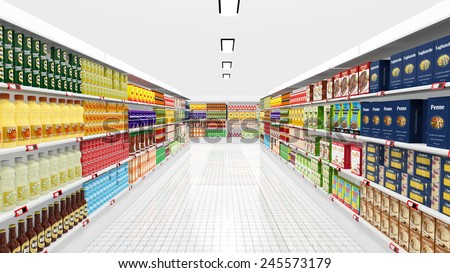Supermarket interior with shelves and various products - stock photo