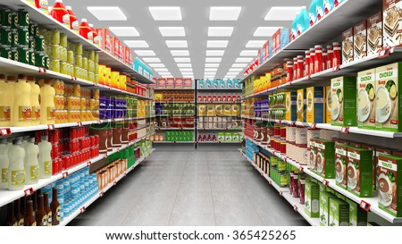 Supermarket interior with shelves full of various products. - stock photo