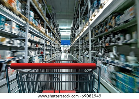 Supermarket interior with shopping chart - stock photo
