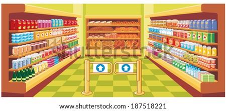 Supermarket. Raster illustration.  - stock photo
