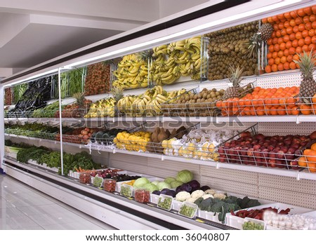 supermarket refrigerator - stock photo