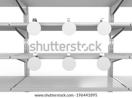 supermarket shelf from front with blank wobblers - stock photo