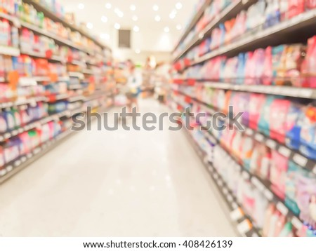 supermarket shelf in blurry for background