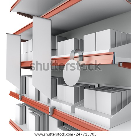 supermarket shelf in perspective with flags or shelf-stopper and wobbler