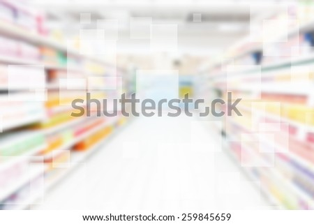 Supermarket Shelves Blurred Background - stock photo