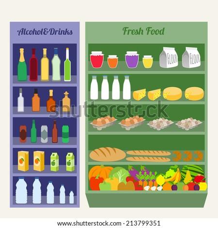 Supermarket shelves fresh food alcohol and drinks flat  illustration - stock photo