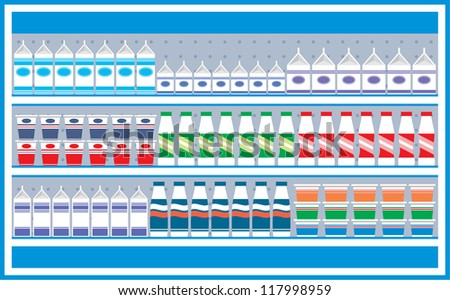 Supermarket shelves with dairy products. Raster illustration. - stock photo