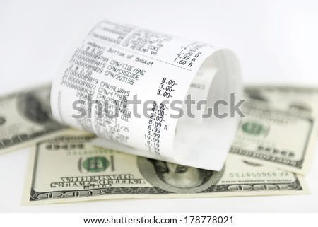 supermarket shopping bill - stock photo
