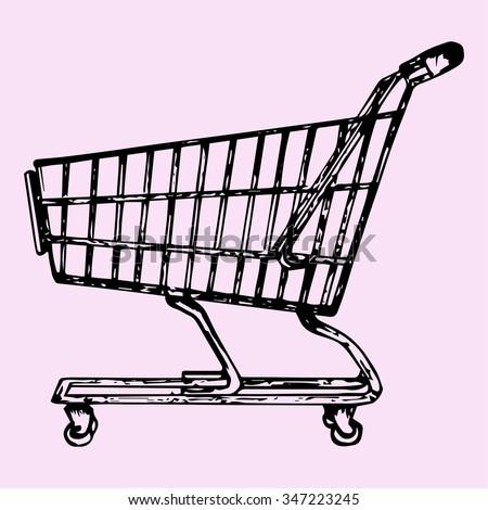 supermarket shopping cart, doodle style, sketch illustration, hand drawn, raster - stock photo
