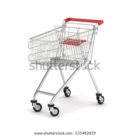 supermarket shopping cart isolated on white background 3d