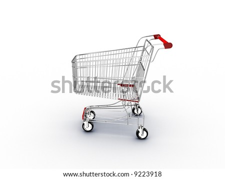 supermarket shopping cart with shadow on white