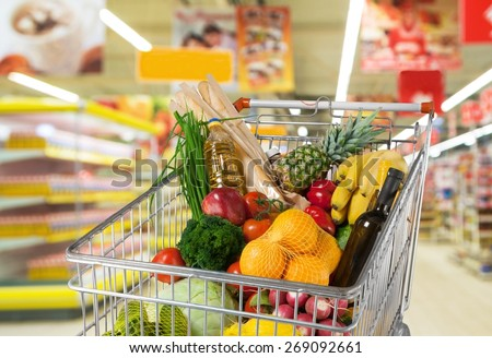 Supermarket, Shopping, Groceries. - stock photo