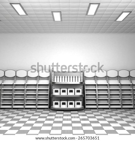 Supermarket Stand Wall - stock photo