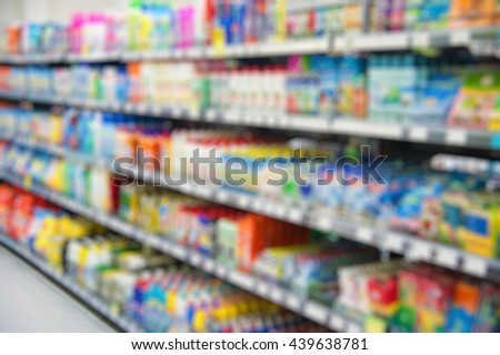 Supermarket store blur background. Shopping in the supermarket