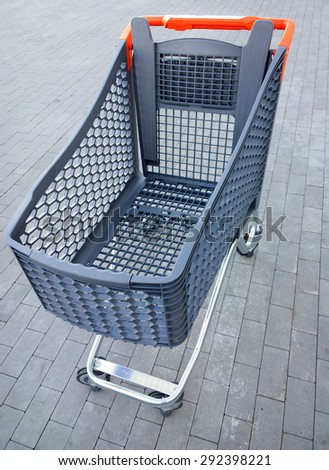 Supermarket trolley. - stock photo