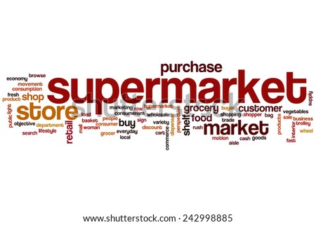 Supermarket word cloud concept with store purchase related tags - stock photo