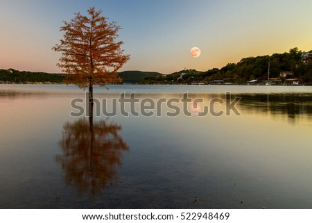 Supermoon in November 2016 reflection off Sandy Creek Arm of Lake Travis viewed from Jones Brother's Park in Jonestown, Texas, USA.