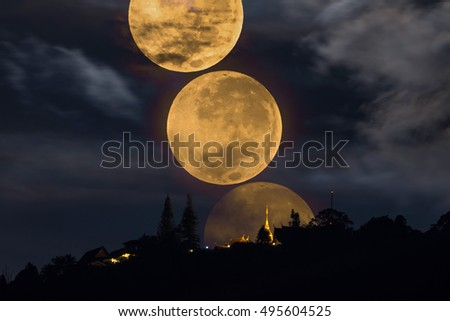Supermoon Over Wat Phrathat Doi Suthep Temple in ChiangMai, Thailand