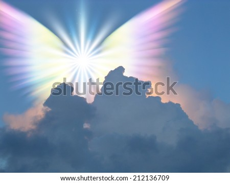 Supernatural being in sky - stock photo
