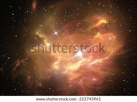 Supernova explosion with nebula in the background - stock photo
