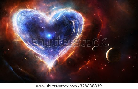 Supernova nebula in heart shape with planets and stars - stock photo