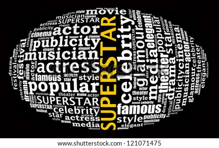 Superstar info-text graphics and arrangement concept on black background (word cloud) - stock photo