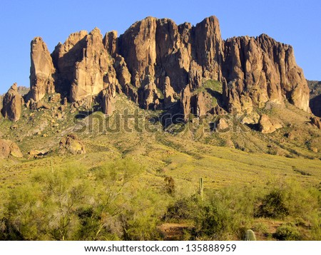 Superstition Mountain Landscape - stock photo